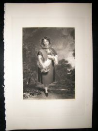 Aft Thomas Lawrence 1842 Folio Mezzotint. Little Red Riding Hood, Pretty Lady